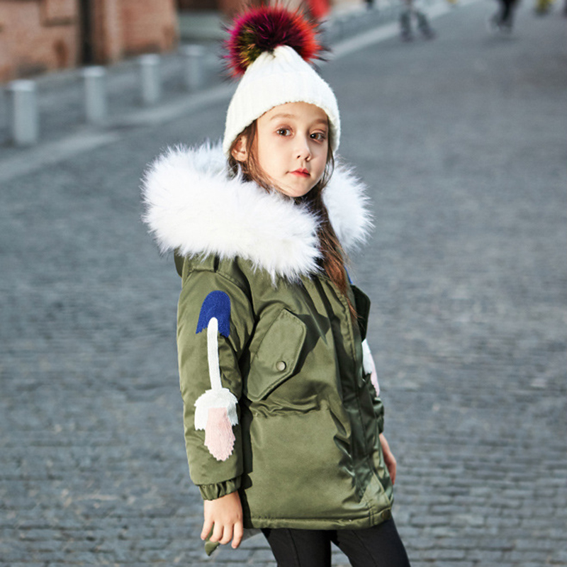 Girls Long Down Coat with Raccoon Fur Collar Warm Thick Hooded Parkas Jacket for Girls Kids Winter Outwear Children Fashion Coat цены онлайн