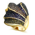 New Fashion Women Rings Beautiful 4 Layers Deluxe Multi Colors Cubic Zirconia Pave Setting Gold Plated Brass Metal Lead Free