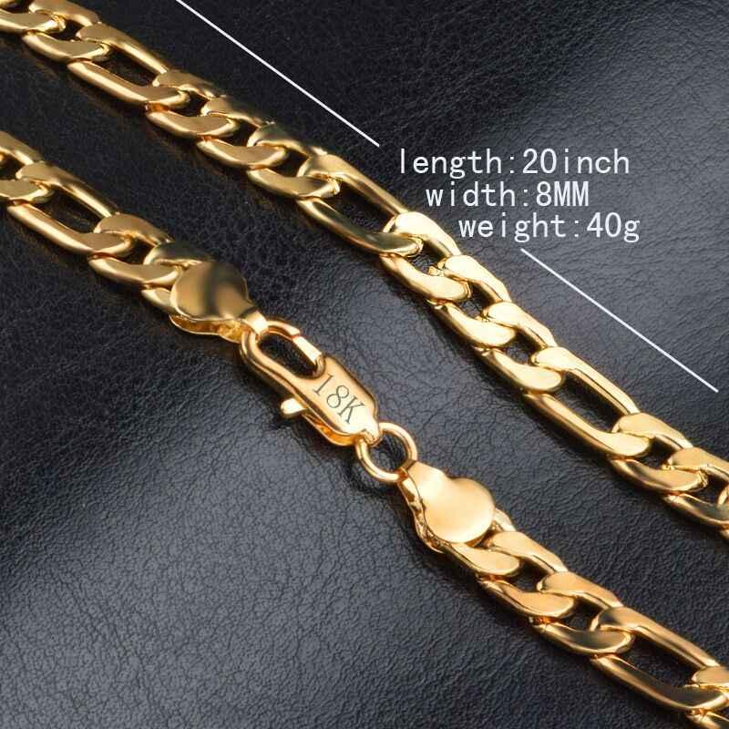 2018 הוט קוטור 18 K ואקום ציפוי באיכות גבוהה. חינם 8mm 20 אינץ זהב שרשרת שרשרת שמנמן זכר תכשיטים