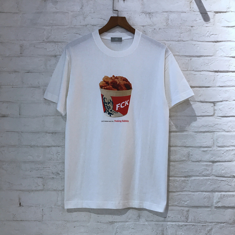 2018 FXXKING lapins FCK frit poulet imprimé femmes hommes t-shirts Hiphop Streetwear été hommes coton t-shirt