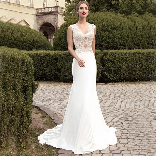 4c4366023d Nuevos Sencillos Vestidos de Novia Blanco Con Cuello En V y Espalda Abierta  Robe de Mariage