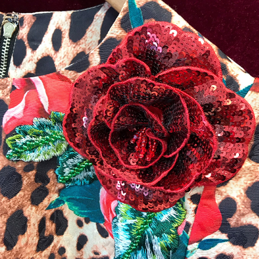2019 Dell'annata Abiti Della Leopardo Roosarosee Rosa Maniche Di Festa Fiore Nuovo Rosso Corte Tridimensionale Multi Molla Del Stampa Estate 4pqwET