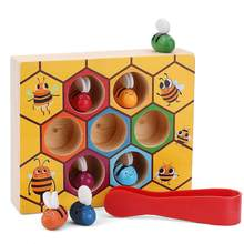 For Bee Hives Wooden Educational Toys, for Preschool Toddler Motors Skills Toys Color Sorter Baby Toy for Early Learning(China)