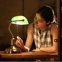 Vidrio Verde cubierta de la luz de trabajo para la clase de la escuela sala de estudio pantalla Mesa de cristal decorativo estudio lectura luz E27 * 1 LED Abajur