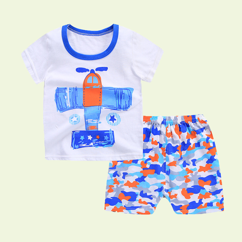 Hot Baby Boy Clothes Summer Kids Set Short Sleeved T-shirt + Pants Beach Wear Tiny Cottons Toddler Shorts For Boys Camo Pants 4T ...
