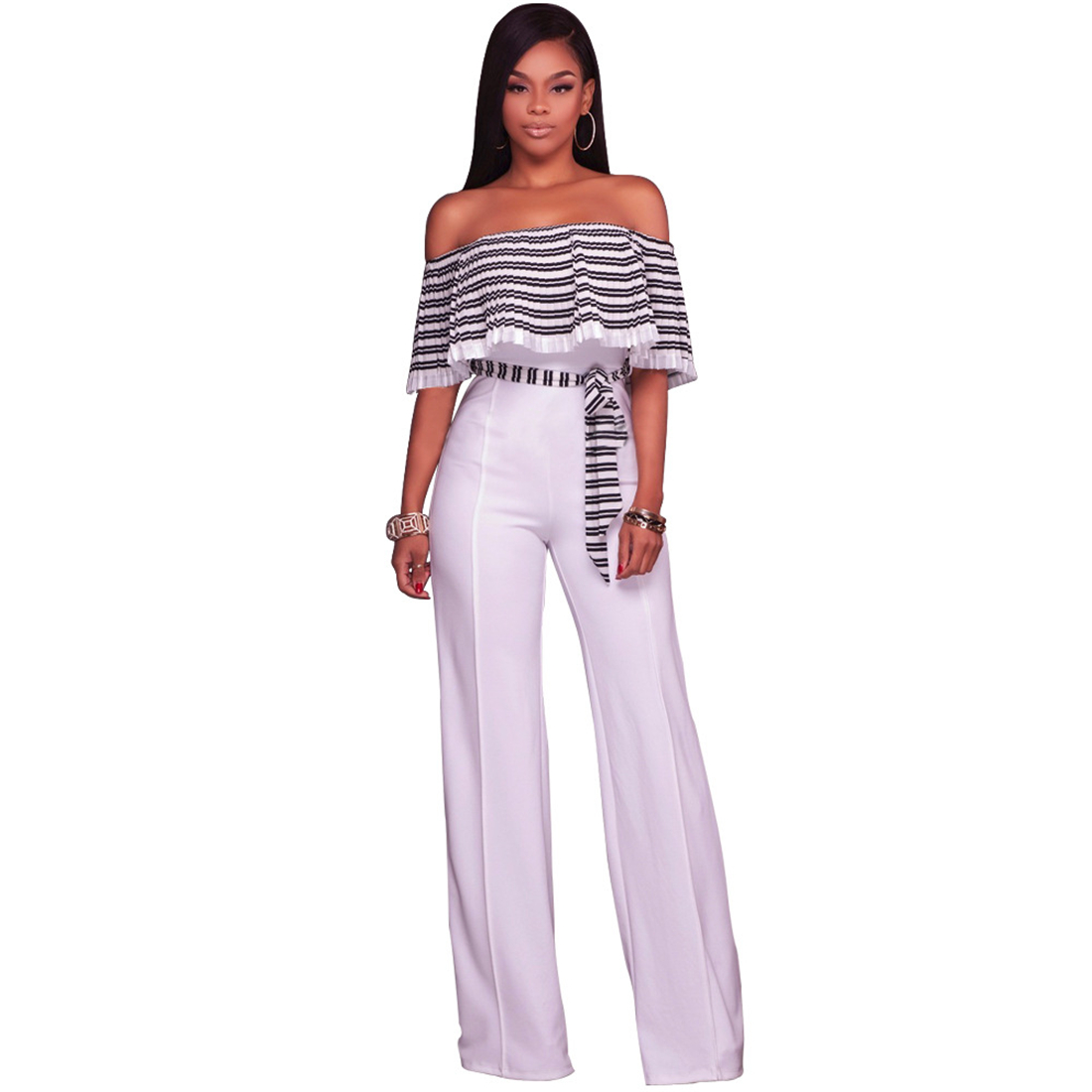 Women 2017 Fashion Ladies Office Jumpsuit Romper Pleated Slash Neck Wide leg Long pants Playsuit Summer