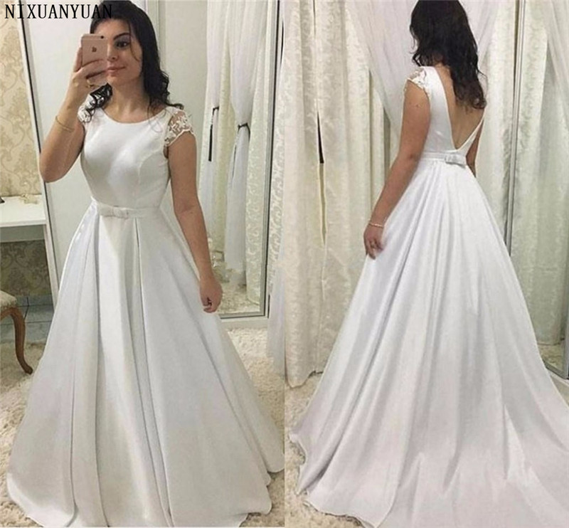 Simple Satin Wedding Dress Scoop Cap Sleeves Floor Length Backless Wedding Gown Sash Bow White Ivory Plus Size Vestido De Noiva