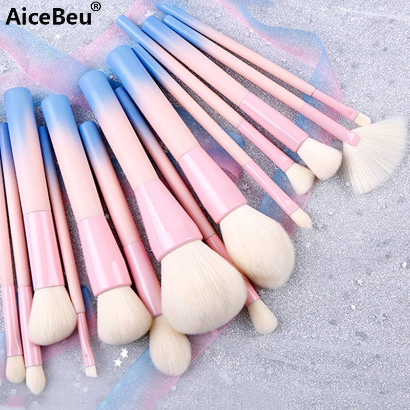 AiceBeu Gradient Color Pro 14pcs Makeup Brushes Set Cosmetic Powder Foundation Eyeshadow Eyeliner Brush Kits Make Up Brush Tool 8pcs makeup brushes cosmetics eyeshadow eyeliner brush kit 15 color concealer facial care camouflage makeup palette sponge puff