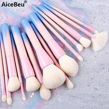 AiceBeu Gradient Color Pro 14pcs Makeup Brushes Set Cosmetic Powder Foundation Eyeshadow Eyeliner Brush Kits Make Up Brush Tool