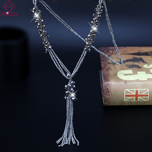 Japan Korean Fashion New Seed Beads Long Tassel Necklace Graceful Crystal Strand Sweater Chain 2019 Date Party Women Jewelry цена