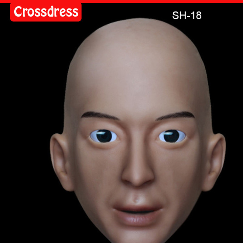 NEW!!SH-18 realistic male silicone rubber crossdress half face mask crossdresser doll, human face mask fashion easy matched stripe pattern shirt