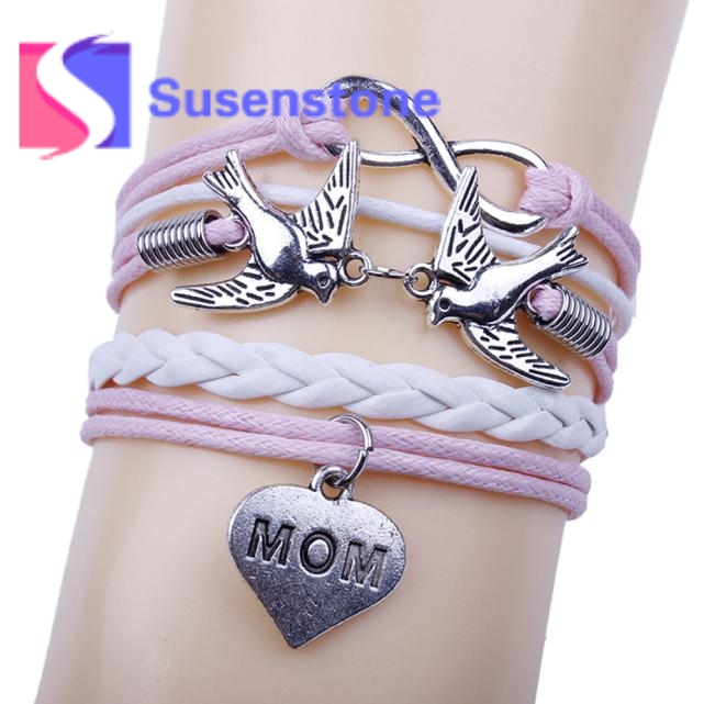 Charm Pink Rope Bracelets 2017 Women Handmade Infinity Love Mom Peace Dove Multilayer Weave Leather Bracelets Wristband Pulsera