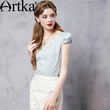 Artka Women's Autumn New Solid Color Embroidery Cotton Shirt Vintage O-Neck Puff Sleeve Slim Fit All-match Shirt SA12768C