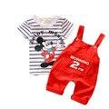 Мультфильм Мышь Baby Boy одежда Набор 2017 Новый Малышей Мальчики Одежда Весна Лето Мода Детская Одежда T-shirt + шорты T548