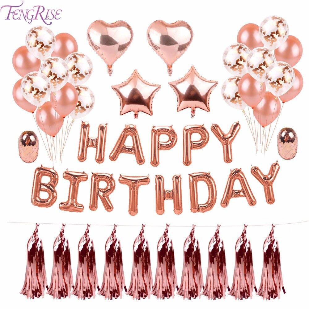 Fengrise Oro Rosa Buon Compleanno Palloncini Champagne Decorazione