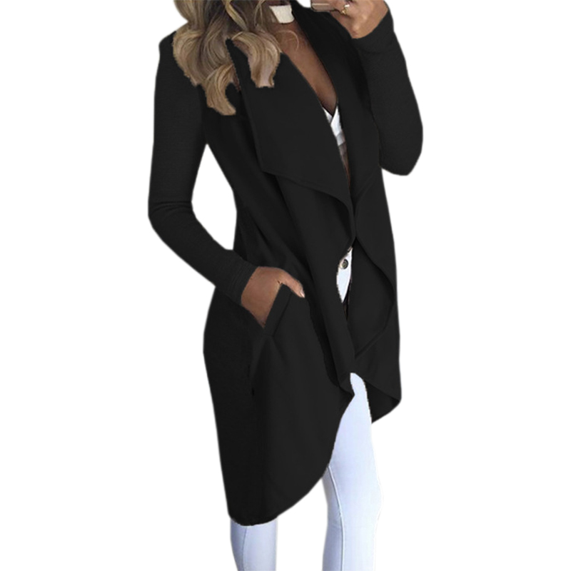 2017 Woman Solid Long Sleeve Casual Coat Turn-down Collar Pocket Autumn Winter Women Jackets Open Stitch Plus Size Outfit GV916