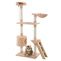 60 Comfortable and Soft Fabrics Cat Tree Tower Kitten Hammock Condo Sisal Rope Cat Scratching Post High Stability Furniture