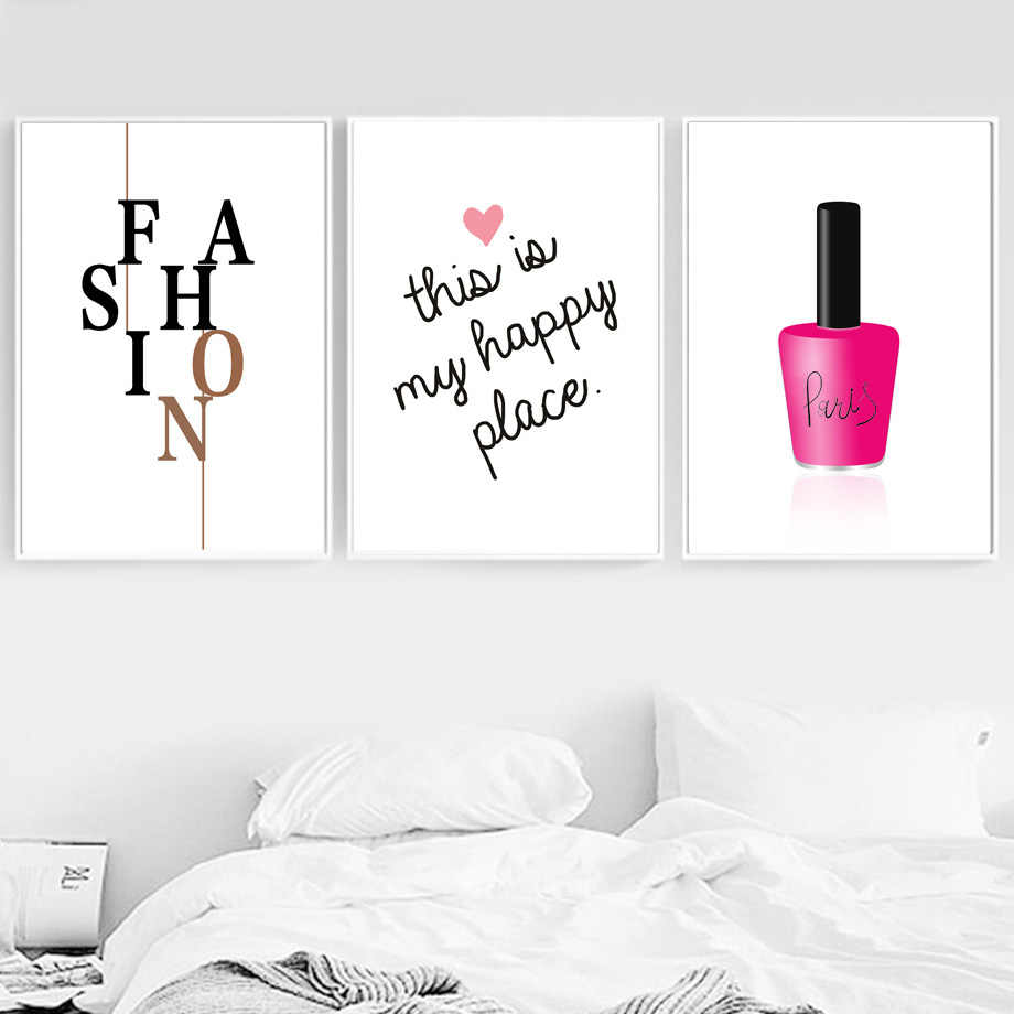 Nail Polish Fashion Brand Quotes Wall Art Canvas Painting Nordic Posters And Prints Decoration Pictures For Living Room Salon