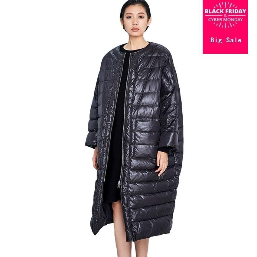 Europeo de marca de moda de manga de murciélago, abrigo de 2018 de las mujeres de invierno pato abajo chaqueta de X-más grueso cálido chaqueta wj1534