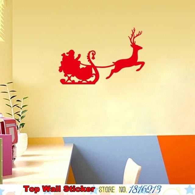 DIY Home Christmas Wall Stickers Santa Claus Sled Reindeer Elk Deer ...