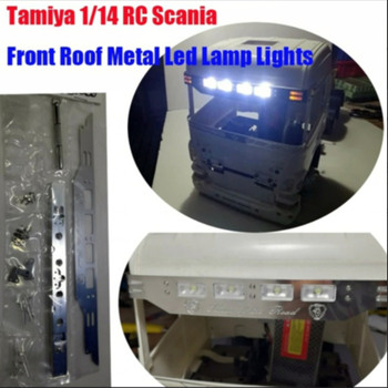цена на New tamiya 1/14 rc scania front roof metal led lamp sun shield lights suit for scania r620 56323 r730 r470 tractor trailer truck