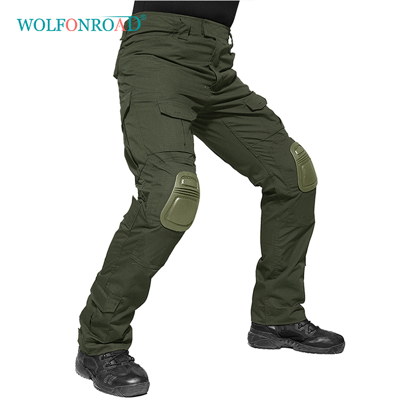 WOLFONROAD 2018 Men Military Pants With Knee Pads Men s Tactical Cargo Pants Army Green Soldier