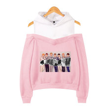 BTS Printed Off-shoulder Hoodies