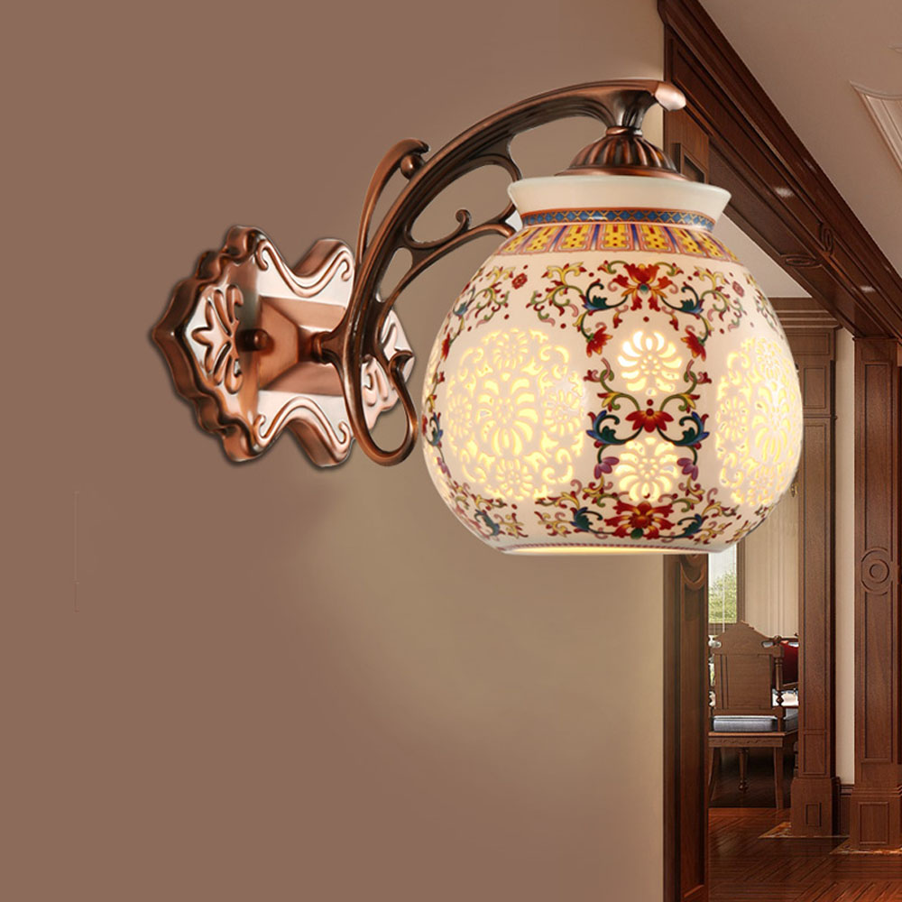 ФОТО Chinese Style Retro Iron Ceramics Wall Mounted Bedside Reading Lamps 110V ~ 220v Single Lamp10w Wall Mounted Bedside Lamps
