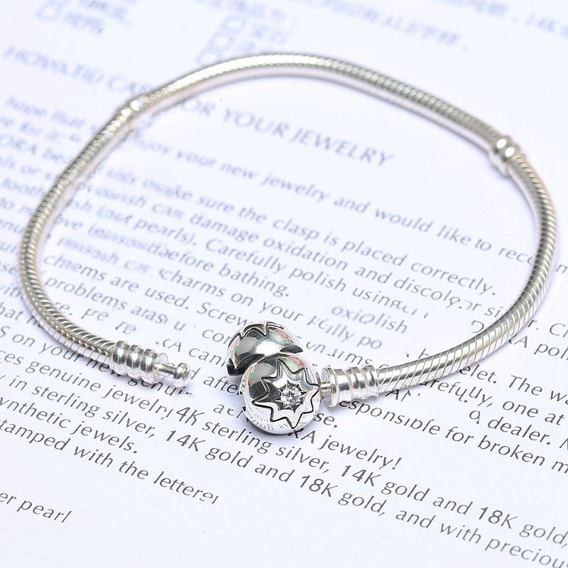 100% 925 Sterling Silver Bead Charm Snake Chain Fit Original Pandora Bracelet with Sparkling Star Clasp for Women DIY Jewelry