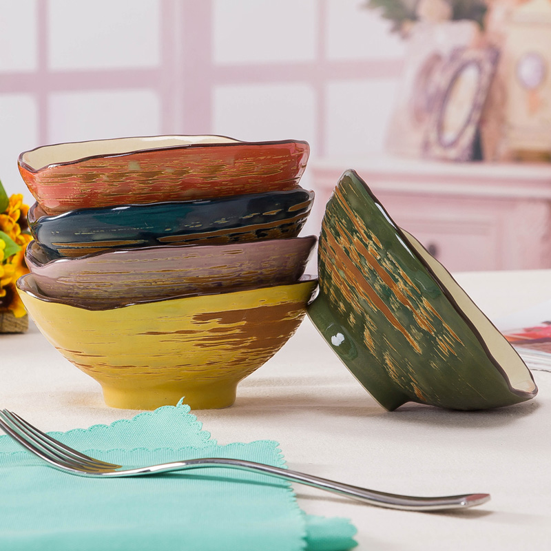 Dinnerware Set Ceramic Bowls 5pcs set Colorful Shell bowl Dessert font b Salad b font Leisure