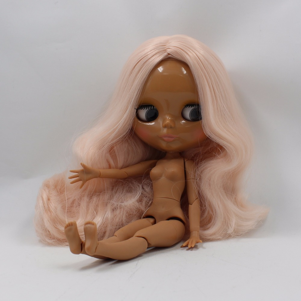 Neo Blythe Doll with Pink Hair, Dark Skin, Shiny Face & Jointed Body 2