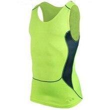 Для мужчин быстросохнущие спортивные и Фитнес Спортивная футболка сжатия без рукавов дышащие спортивные облегающие рубашки