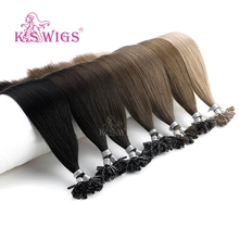 K.S perruques u tip cheveux humains lisses, Capsules kératine, Extensions de cheveux humains, pré collées, 16 20 24 28, 25 pièces par paquet