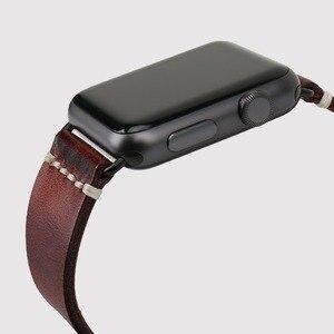 Image 4 - Сменный Браслет MAIKES для Apple Watch Band 44 мм 40 мм 42 мм 38 мм Series 4/3/2/1 iWatch, Красный винтажный браслет из вощеной кожи для часов