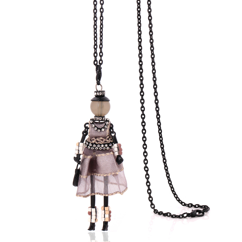 new arrival handmade necklaces for women cute yarn cloth dress doll necklace jewelry big chain fashion long choker pendants