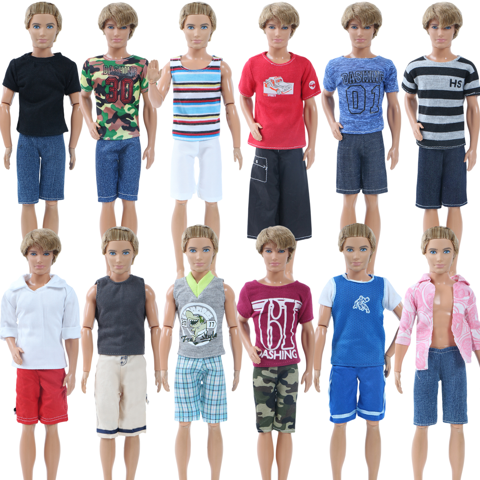 3 Set Random Outfits Daily Casual Sports Wear Short Sleeves T Shirt + Shorts Summer Clothes For Barbie Doll Ken Accessories Toy