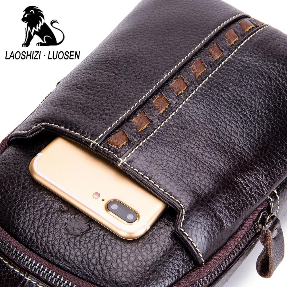 LAOSHIZI LUOSEN Vintage Echt Lederen Schoudertas Kleine Mannen Borst Pakken Crossbody Enkele Riem Sling Bag Man Messenger Bag - 4