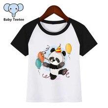 Birthday Panda Diy Print T Shirt Funny Clothes Children Summer T-shirt  Kids Fashion Clothing Cartoon