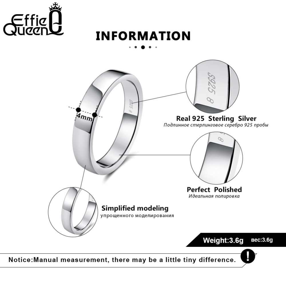 Effie Queen 100% 925 เงินสเตอร์ลิงแหวนผู้หญิงคลาสสิกสไตล์เรียบง่ายแหวนผู้ชายวงเครื่องประดับ BR73