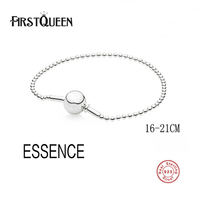 FirstQueen Real 100% 925 sterling silver Snake Chain ESSENCE Silver Ball Chain Bracelets Authentic Fine Jewelry Factory 596002