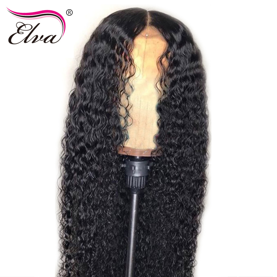 Curly 360 Lace Frontal font b Wig b font Elva Lace Front Human Hair font b