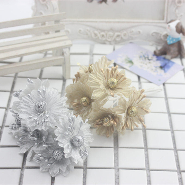 New hot golden silver glitter artificial silk flower bouquet for new hot golden silver glitter artificial silk flower bouquet for wedding decoration scrapbook diy hand carft mightylinksfo