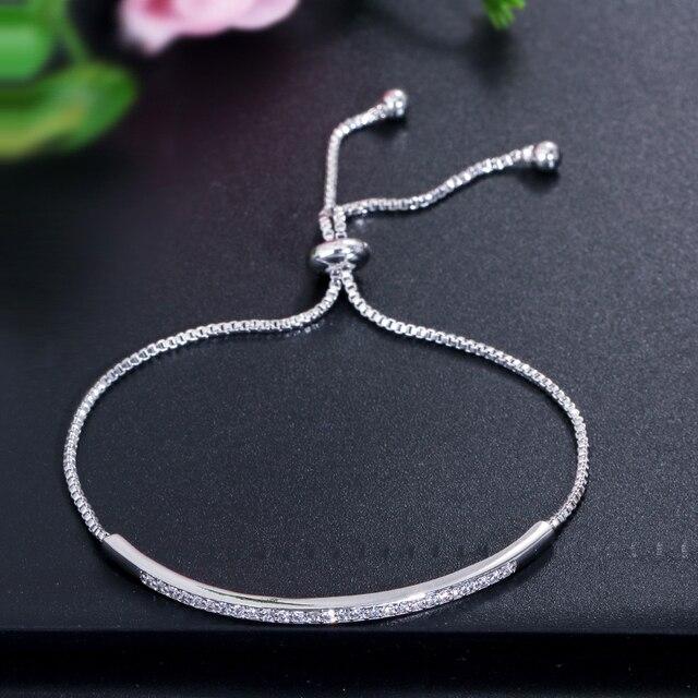 CWWZircons Adjustable Bracelet Bangle for Women Captivate Bar Slider Brilliant CZ Rose Gold Color Jewelry Pulseira Feminia CB089 3