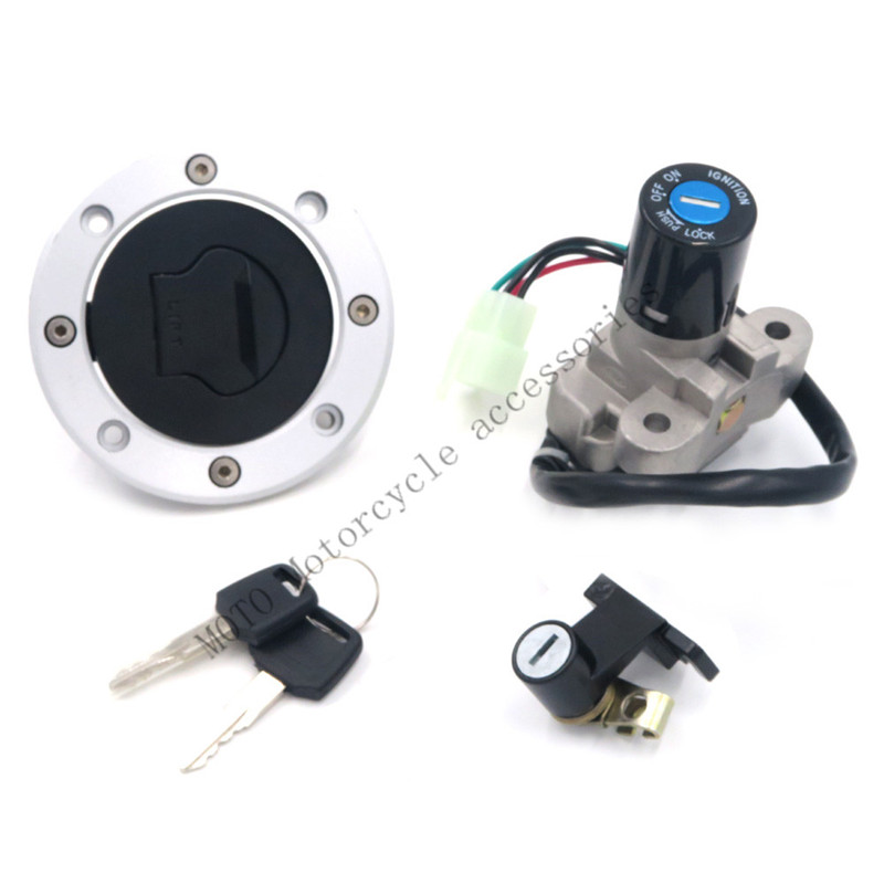 Ignition Switch 4 Wires Gas Cap Key Set Motorcycle For GSX750 GSX600 89-97 VX800 90 91 92 93 94-96 Ignition Switch Gas Cap Key