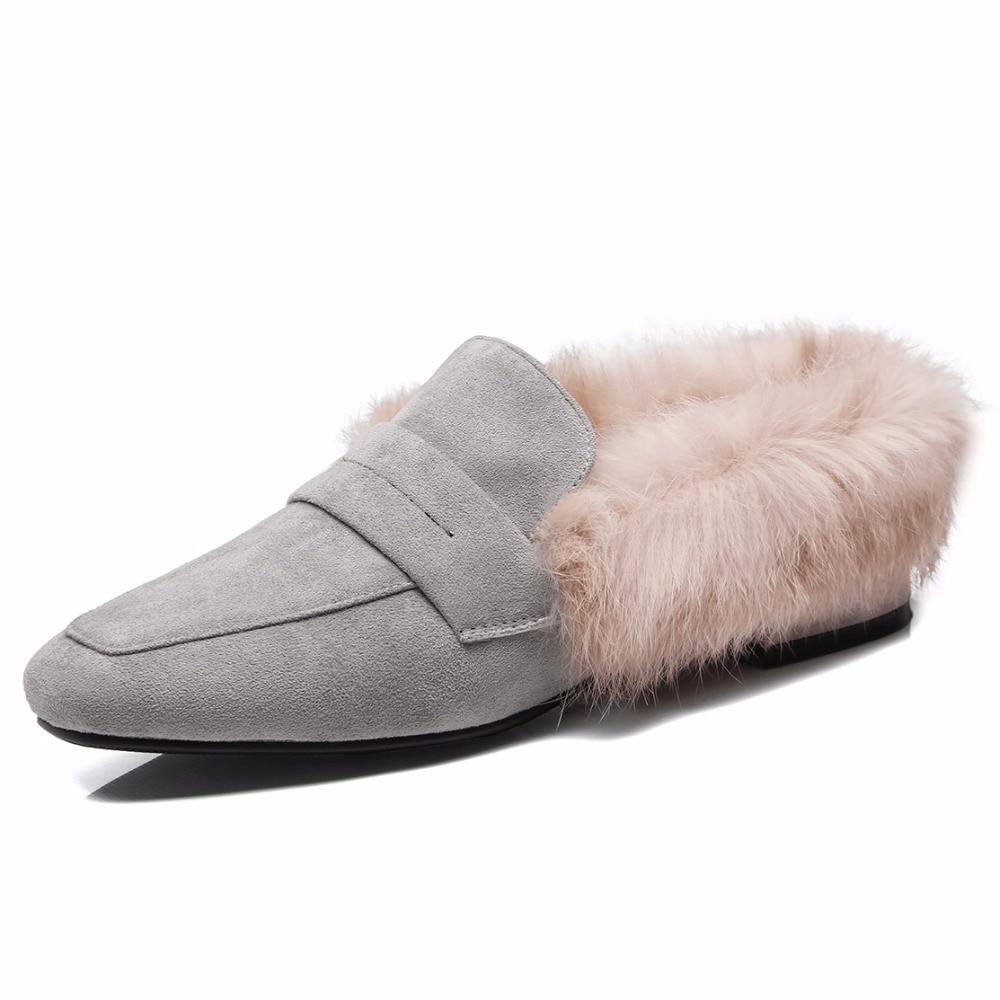 Toe grey Black Square 2 Conejo black Invierno 2 Faux Zapatos On pink Piel 2 1 De B767 pink Mujer Simloveyo 1 Primavera Slip Bowtie Zapatillas x4YTqwwZ07