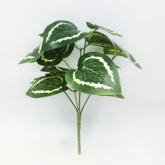 2017 rushed 1pcs 5 forks begonia leaves artificial plastic plants