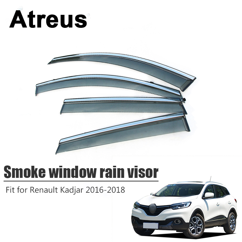Atreus 4 ชิ้นสำหรับ Renault Kadjar 2016 2017 2018 รถอุปกรณ์เสริมประตูหน้าต่าง Sun Rain Visor Deflectors ลม Guard