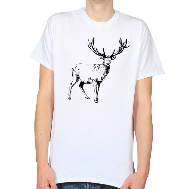 stag drawing huge antlers line art wildlife love t shirt cheap price