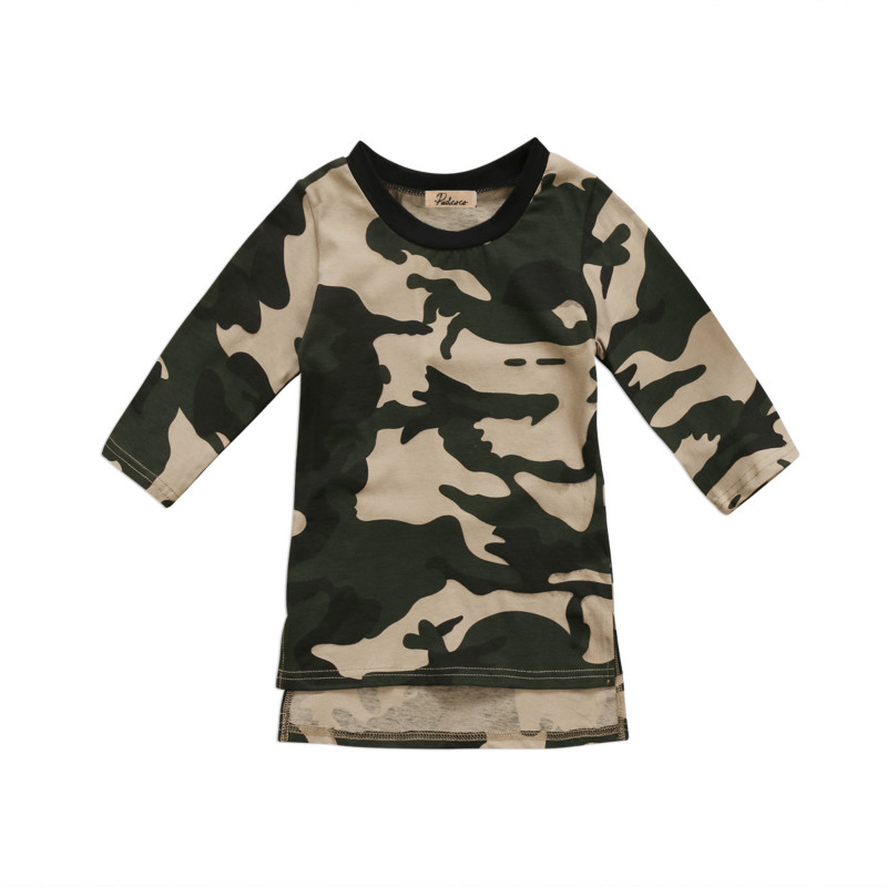 0-3Y Infant Toddler Kids Baby Girls Cotton Sundress Clothes Princess Party Prom Camouflage Long Sleeve Mini Dresses Clothing New
