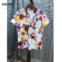 hot deal buy 100% cotton tops & tees 2019 spring summer high quality t-shirt women hand made beading elegant flower print short sleeve tops